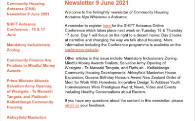 Community Housing Aotearoa (CHA) Newsletter 30 August 2021