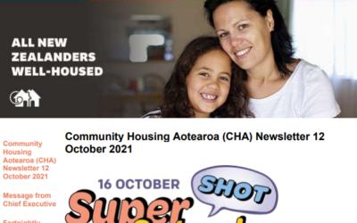 Community Housing Aotearoa (CHA) Newsletter 12 October 2021
